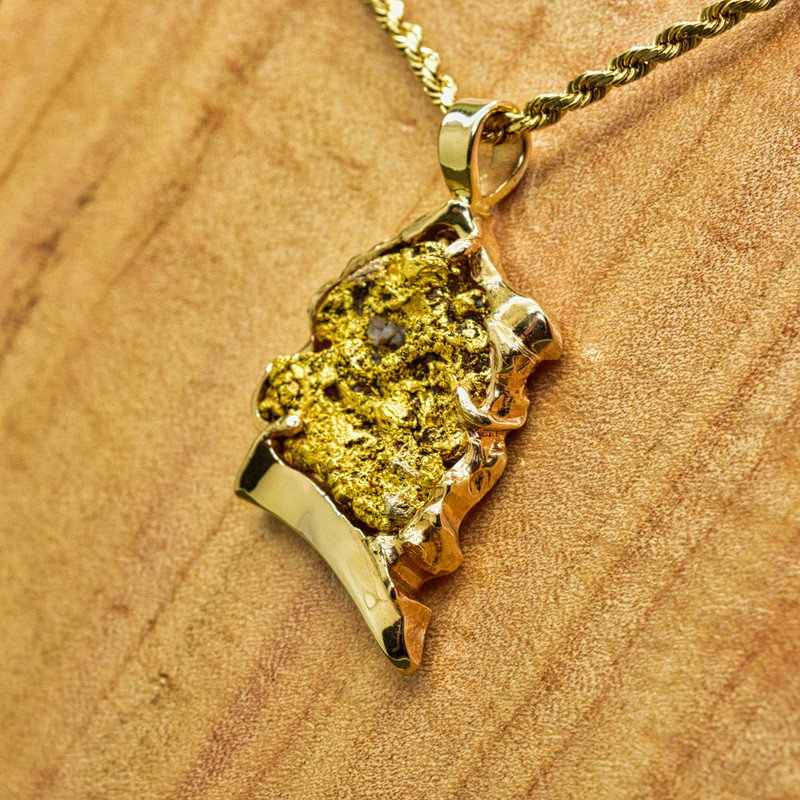 Custom 14k Yellow Gold Bezel Pendant with Large Local Nugget