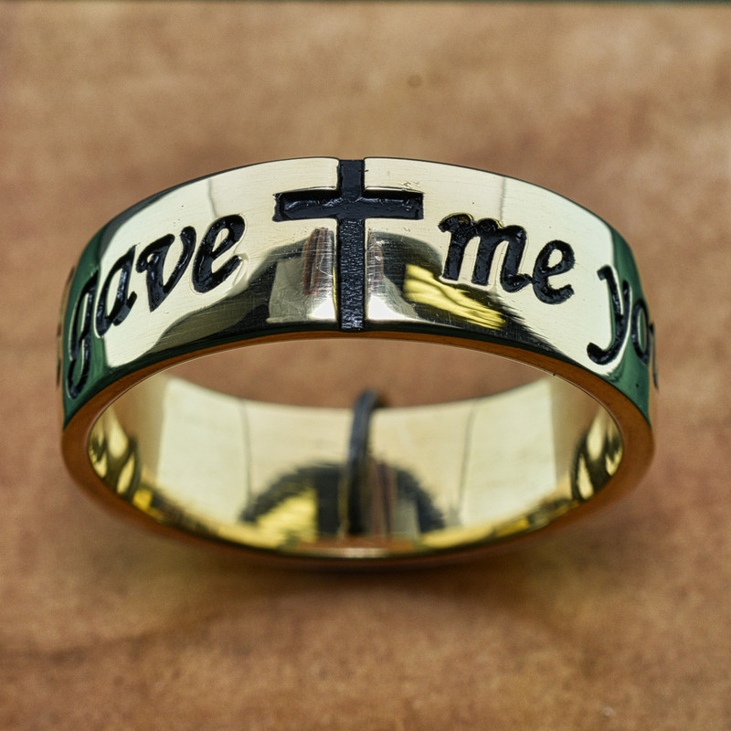 "14k Yellow Gold Mens Antiqued Band, Deeply Embossed with ""God gave me you"" and Cross"