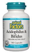 Natural Factors Acidophilus & Bifidus 5 Billion Active Cells 180 Capsules