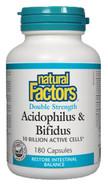 Natural Factors Acidophilus & Bifidus Double Strength 10 Billion Active Cells 180 Capsules