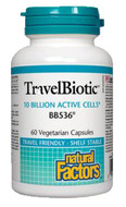 Natural Factors TravelBiotic BB536 10 Billion active cells 60 Veg Capsules