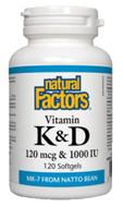 Natural Factors Vitamin K & D 120 Softgels