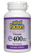 Natural Factors Clear Base Vitamin E 400 IU 180 Softgels