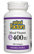 Natural Factors Mixed Vitamin E 400 IU 180 Softgels