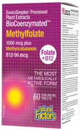 Natural Factors BioCoenzymated Methylfolate 1000 mcg Plus Methylcobalamin B12 60 Sublingual Tablets