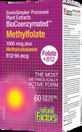 Natural Factors BioCoenzymated Methylfolate 1000 mcg Plus Methylcobalamin B12 60 Sublingual Tablets