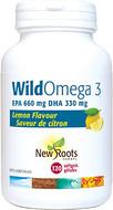 New Roots WildOmega 3 EPA 660mg DHA 330mg Lemon Flavour 120 Softgels