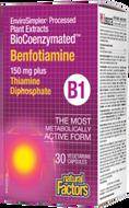 Natural Factors BioCoenzymataed Benfotiamine B1 150 mg Plus Thiamine Diphosphate 30 Veg Capsules