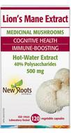 New Roots Lion's Mane (Hericium erinaceus) 500 mg 120 Veg Capsules
