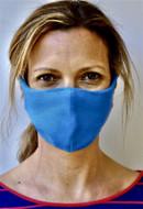 Brave Face Skeena Organic Cotton Reusable Face Mask For Adult- Deep Sky Blue