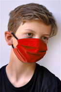 Brave Face Fraser Organic Cotton Reusable Face Mask For Kid - Red