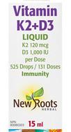 New Roots Vitamin K2+D3 Liquid 15ml(525 Drops)