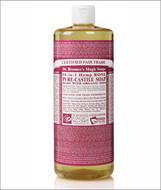 Dr Bronner's Organic Rose Pure Castile Liquid Soap 32 Oz ( 944 ml )