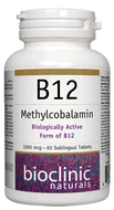 Bioclinic Naturals B12 Methylcobalamin 1000 mcg 60 Sublingual Tablets