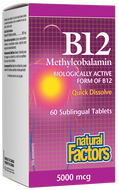 Natural Factors Vitamin B12 Methylcobalamin 5000 Mcg