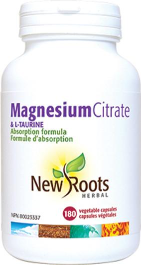 New Roots Magnesium Citrate & L-Taurine 180 Veg Capsules