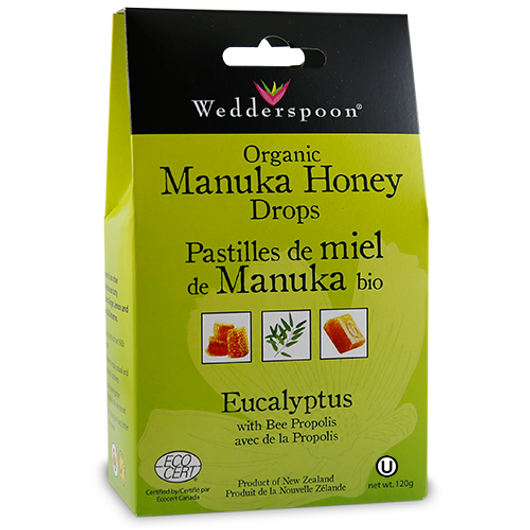 Wedderspoon Organic Manuka Honey Drops With Eucalyptus & Bee Propolis 120 g