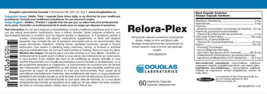Douglas Laboratories Relora Plex 60 Veg Capsules Label