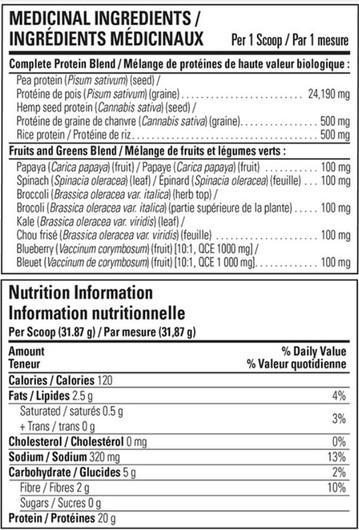 Vegan Pure Organic Protein & Greens Chocolate 478 g Label