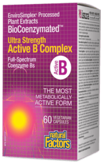 Natural Factors BioCoenzymated Ultra Strength Active B Complex 60 Veg Capsules