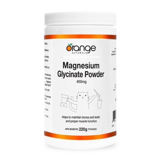 Orange Naturals Magnesium Glycinate 400mg Powder 220g