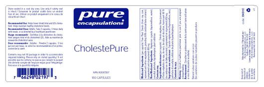 Pure Encapsulations Cholestepure 120 Veg Capsules label