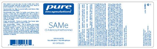 Pure Encapsulations SAMe (S-Adenosylmethionine) 60 Capsules label