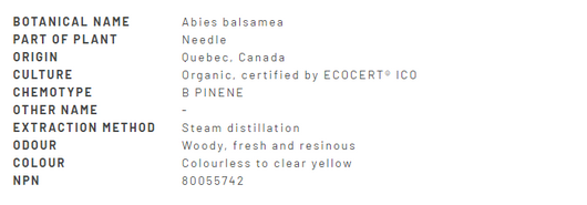 Divine Essence Fir Balsam Essential Oil Organic 15ml - Description
