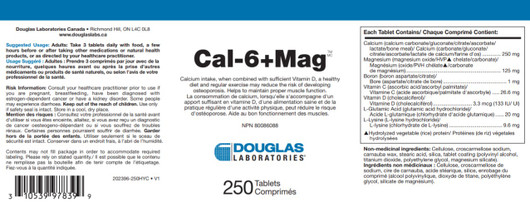 Douglas Laboratories Cal 6 Plus Mg 250 Tablets Label