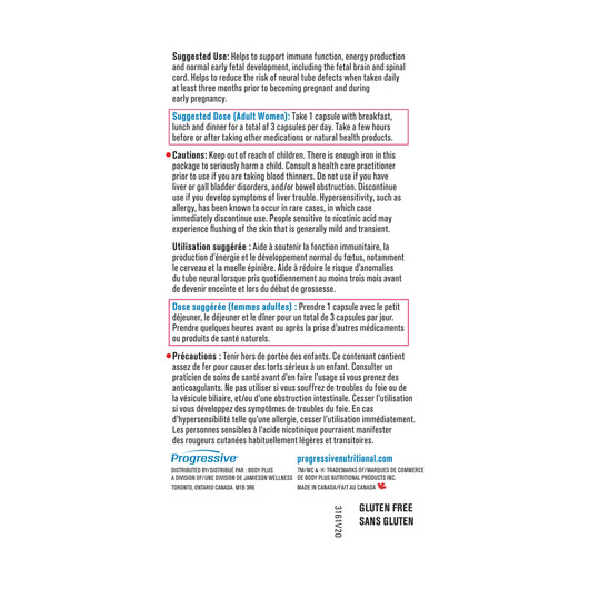 Progressive Multivitamin Prenatal  120 Veg Capsules label 2