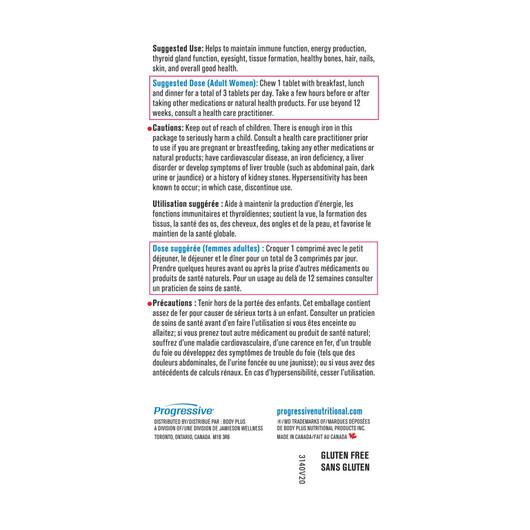 Progressive Adult Women Chewable Multivitamin 60 Tablets label 2