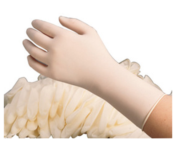 Standard powder-free latex medical exam gloves.