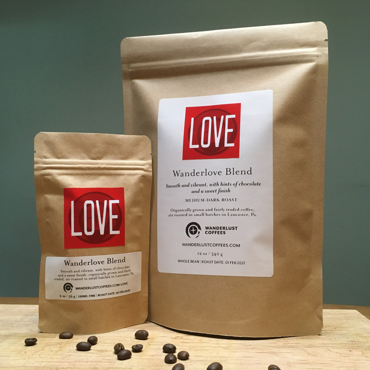 Wanderlove Blend, available in 2 oz. and 12 oz. bags