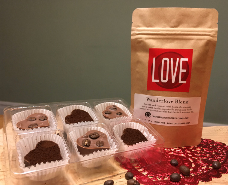 Wanderlust Blend (2 oz. gift size) and 6 Mochaccino Hearts