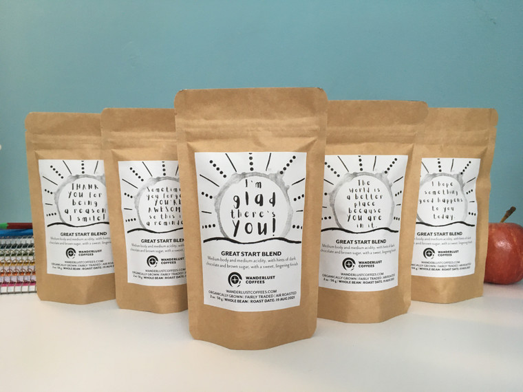 5-pack of 2 oz. gift size bags, with five encouraging messages