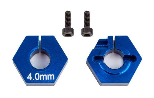 Team Associated RC10 B6.2 4.0mm Clamping Wheel Hex (Blue) (2)