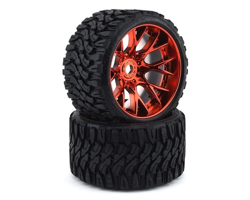 Sweep Terrain Crusher Belted Pre-Mounted Monster Truck Tires (2) (1/2 Offset) w/17mm Hex Chrome Red