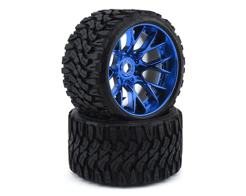 Sweep Terrain Crusher Belted Pre-Mounted Monster Truck Tires (2) (1/2 Offset) w/17mm Hex Chrome Blue