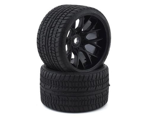 Sweep Road Crusher Belted Pre-Mounted Monster Truck Tires (2) (1/2 Offset) w/17mm Hex Matt Black