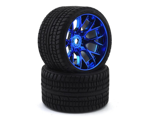 Sweep Road Crusher Belted Pre-Mounted Monster Truck Tires (2) (1/2 Offset) w/17mm Hex Chrome Blue