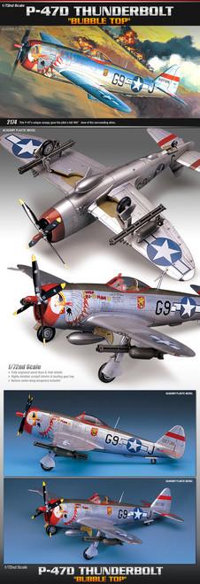 Academy 1/72 Republic P-47D Thunderbolt Plastic Model Kit
