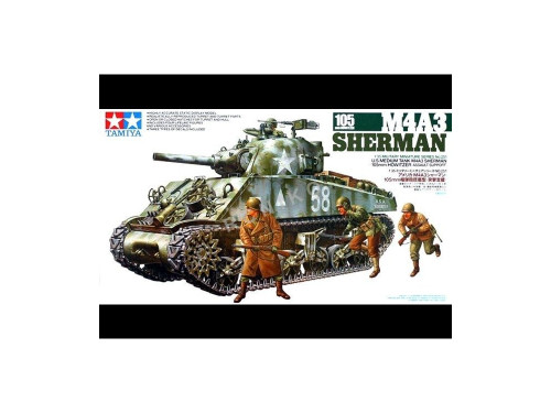 Tamiya - 1/35 M4A3 Sherman 105mm Howitzer Plastic Model Kit