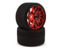 Sweep Road Crusher Belted Pre-Mounted Monster Truck Tires (2) (1/2 Offset) w/17mm Hex Chrome Red