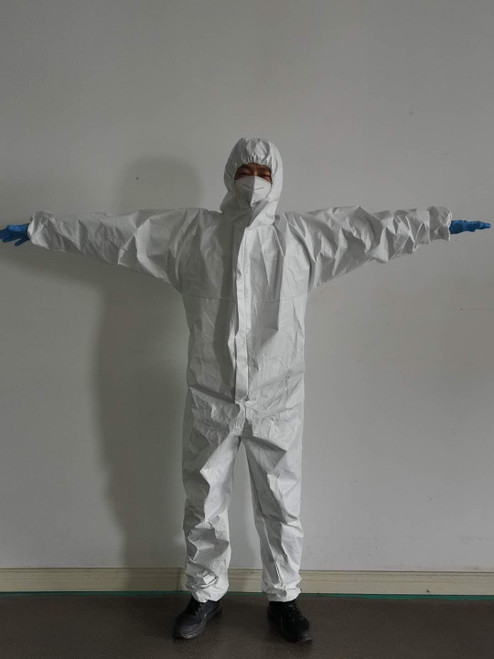 Disposable Protective Coveralls with Hood and Elastic Cuff (5 pieces) Small