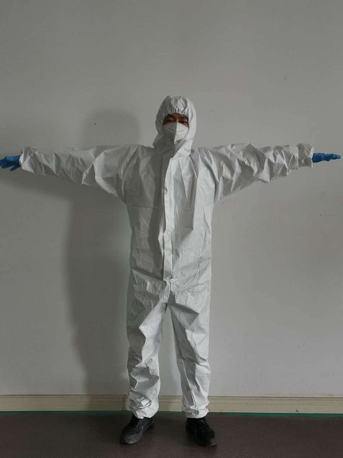 Copy of Disposable Protective Coveralls with Hood and Elastic Cuff (5 pieces) Medium
