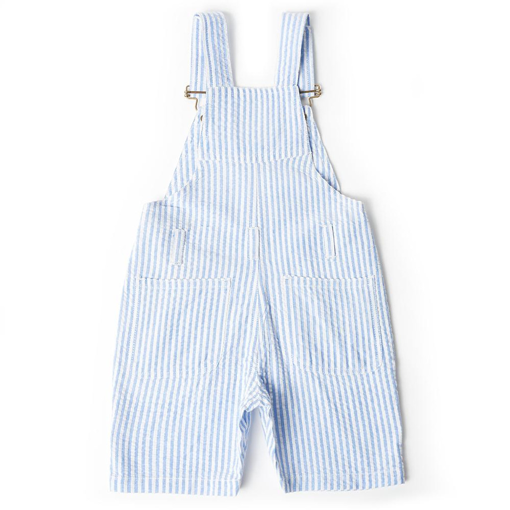 Blue Seersucker Short Overalls
