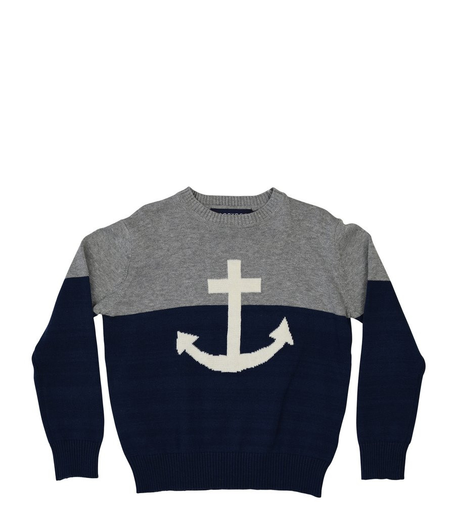 Lucas Crew Sweater, Navy & Grey