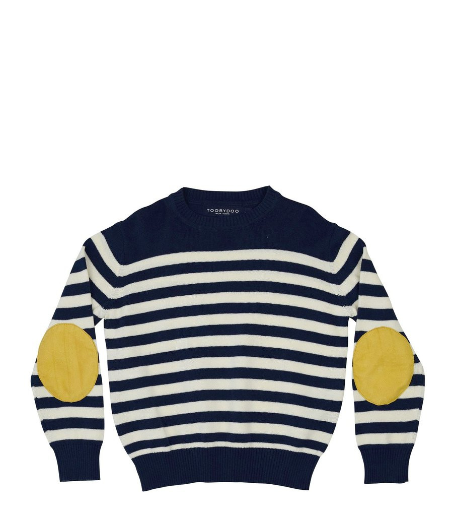Theo Crew Sweater, Navy Stripes