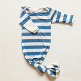 Dusty Blue Stripe Knotted Sleep Gown