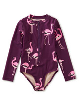 Long Sleeve One Piece Swimsuit, Flamingo Flamboyance